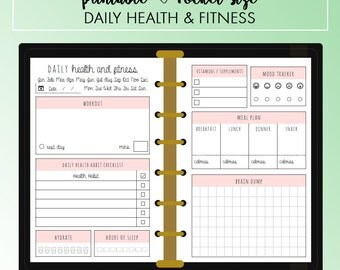 POCKET Daily Health and Fitness Planner Insert Printable | Fits Kikki K Small & Filofax Pocket Instant Download