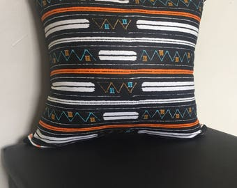 """African Print Throw Pillow Case -- 16"""" x 16"""" -- Insert Not Included, Wax Fabric, Ankara Throw Pillow Cover, Horizontal Black and Orange Abst"""
