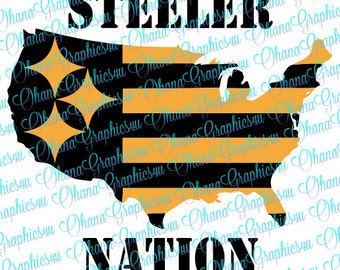 Steeler Nation with USA Silhouette SVG