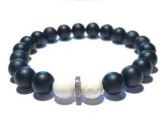 Black, matte onyx gemstone, white agate gemstone and pave diamond bracelet