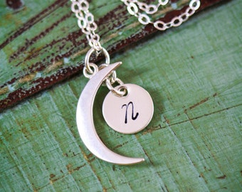 SALE • Crescent Moon Necklace Sterling Silver Moon Charm • Small Moon Tiny Miniature Moon Jewelry • Custom Initial Friend Gift Moon Thin