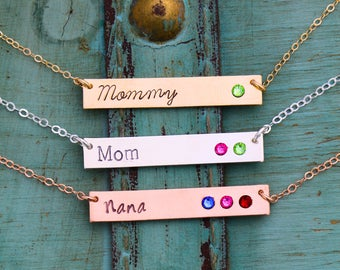 Mother Gift Mom Necklace Birthstone Bar •Name Custom Nameplate Necklace Stocking Stuffer Gift Kid Birthstone Jewelry Name Mom Birthday BS_17
