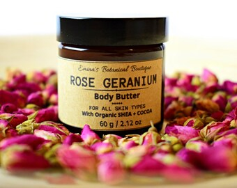 ROSE GERANIUM Body Butter, Vegan Body Butter, Whipped Body Butter,Organic Shea Butter,Moisturiser,Body Moisturiser,Gift for her, uk