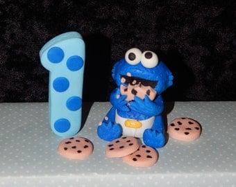Baby Cookie Monster Inspired Cake Topper Set Fondant