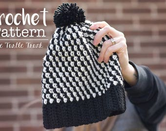 Crochet Adult Beanie Pattern, Striped Beanie Pattern, Instant Download