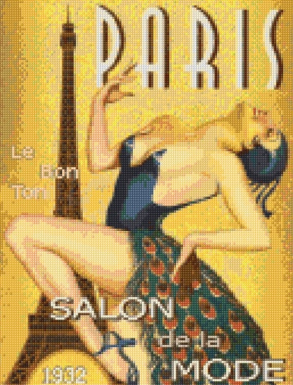 Vintage paris 1932 salon de la mode cross stitch pattern for Salon mode paris