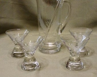 Vintage Hand Blown Etched Glass Martini Pitcher and 4 Glass Set