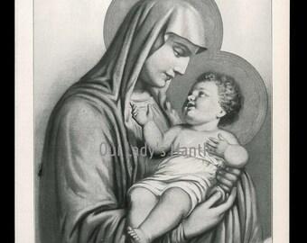 1906 Black and White Halftone Print THE VIRGIN & CHILD