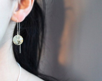 Dandelion resin earrings  925 sterling silver earrings  Real Dandelion Seeds Sphere earrings Clear resin sphere Wedding jewelry
