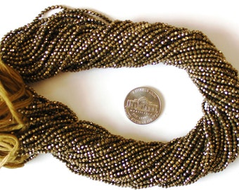 Christmas SaleSummer Super Sale 5 Strands of Natural Golden Pyrite 3.5 MM Micro Faceted Rondelle Beads 13.5 Inch Strand