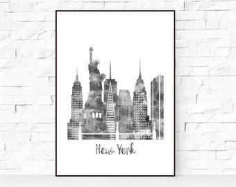 New York watercolor print, watercolor poster, Wall art, New York skyline, cities poster, digital watercolor, black and white print large art