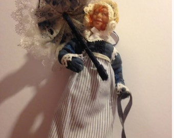 12:1 Scale dollhouse Regency lady Outdoor wear with Purse and Parasol