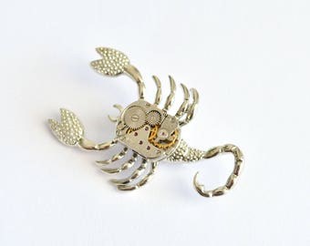 Scorpion Brooch, Steampunk, Unique brooch, Brooch Scorpion, Clockwork, Steampunk gift, Steampunk Brooch, Watch Brooch, Insect jewelry, Gift