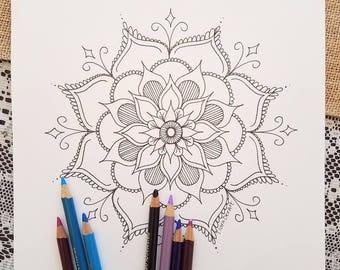 Mandala Coloring Page - Black & White Mandala Drawing - Spiritual Coloring Page - Adult Coloring Book Page - Lotus Mandala Coloring Download
