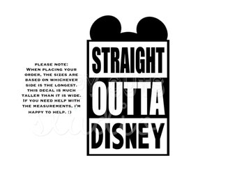 Straight Outta Disney with Mouse Ears Mickey Mouse Decal Kids Boy Dad Grandpa Family Matching Disney Iron On Decal Vinyl for Shirt 095