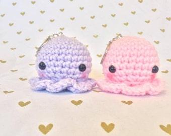 Squidlies, Baby Squid, Keychain, Crochet squid, Amigurumi Keychains, Kawaii