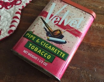 Vintage Velvet Pipe and Cigarette Tobacco Tin, Vintage Tin Cans, Old Tin Advertising, Tobacco Tin, Tobacciana, Velvet Tobacco, Cigarette Tin