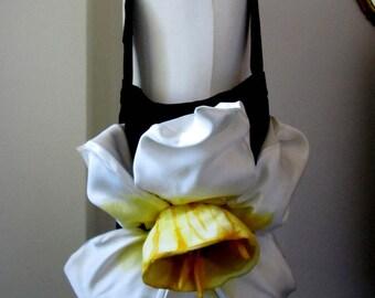 black velvet floral bag adjustable with narcissus flower handmade giant ilenia sara