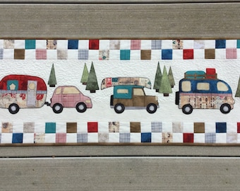 Quilted Camper/RV Decor, Table Runner, Adventure Wall Hanging, Appliquéd Camper Table Topper, RV Quilt