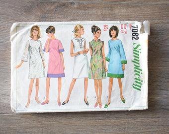 1960s Day Dress Pattern, 60s A-line Shift Dress, Simplicity Pattern 7082, Size 14 Sixties Mod Dressmaking