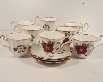 Set of 8 Vintage Imperial Bone China teacups and saucers; Made in England