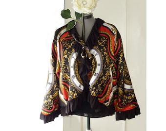 Vintage evening jacket, reworked 90s bomber jacket, size large XL, ooak, party coat, New Years eve attire, retro coat, baroque clock print