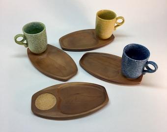 Mid century wood and cork snack trays set of 4- Artwood Japan