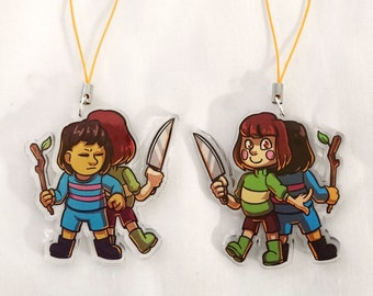 Frisk and Chara double-sided acrylic charm