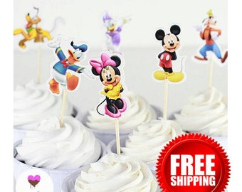 24 Mickey Mouse and friends  Cupcake Toppers Set. **Free Shipping**