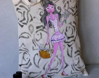 Cloth bag. Women bag. Cotton bag. Decorated tote bag. Beige colour bag. Personalized bag.  Unique and original bag. Girl with Flowers