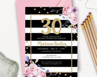 30th Birthday Invitation Printable / Striped Birthday Invitations for Women / Gold Glitter Birthday Party Invites