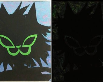 gorillaz noodle silhouette glow-in-the-dark acrylic painting