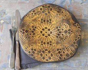 orange flowers lace platter