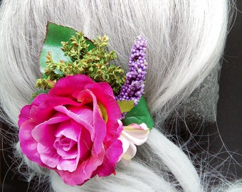 Pink Rose & Daisy Flower Hair Clip