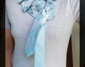 Teal ruffle collar, silk ruffle cowl, silk ruffle scarf, gift for her, ruffle tie, renaissance collar, goth clothing, steampunk scarf, tie