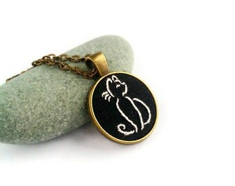 Cat lady gift|for|her Cat necklace Animal necklace Embroidered jewelry gift|for|friend Black Cat silhouette necklace Cat lover gift|for|mom
