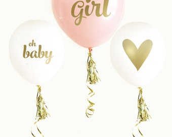 Pink & Gold BABY SHOWER Balloons (set of 3) | it's a girl | gender reveal | photo prop | gender announcement | maternity photo shoot |
