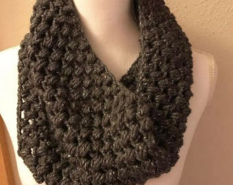 Crochet cowl/infinity scarf- gray with silver sparkles