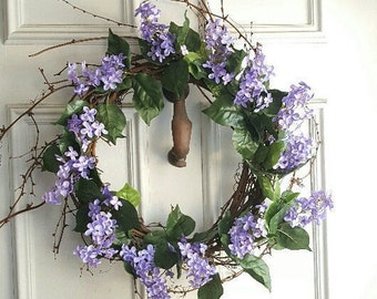 Spring Wreath, Front Door Wreath, Purple Wreath, Summer Wreath, Spring Flower Wreath, Purple Flower Wreath, Wreath, Country Decor, Wreaths