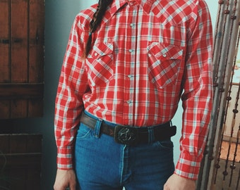 70's Plaid Western Pearl Snap by Townsley