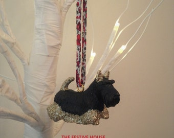 Scottish Terrier with Liberty Ribbon Christmas Tree Decoration, Dog Tree Ornament Decoration