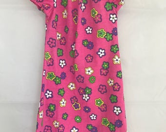 Knit dress Girls dress Size 3 Toddler dress Pink dress Floral dress Girls clothing Custom length Peasant dress