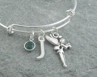 Fairy bracelet, silver fairy charm, fairy jewelry, personalized jewelry, initial bracelet, adjustable bangle, swarovski birthstone, fantasy