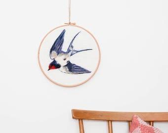 Swallow Wall Art, Swallow Embroidery Hoop, Needle Felted Bird, Wool Painting, Hanging, Bird Hoop Art, Fibre Art, Textile Art, Wall Decor