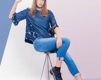 Kingston Top Blue with Floral Details