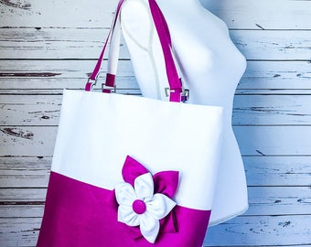 Extra Large Pink Purple Linen Beach Tote Bag with Flower Accent