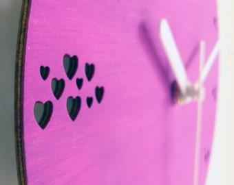 Laser cut wood hearts clock,wood wall clock,romantic clock,love clock,romantic gifts,modern wall clock,wooden clock,wood clock,love gift