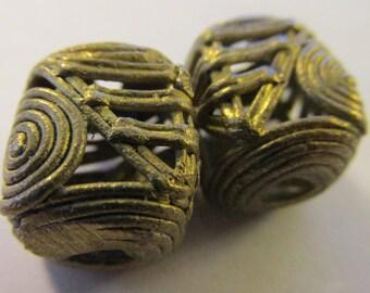 """Handmade Ghana Copper Coil Beads, 5/8"""", Set of 2"""