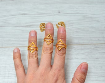 Bohemian Gold Statement Geometric Rhombus Wireframe Knuckle Midi Pinky Ring, Gold Stackable Ring, Gold Adjustable Ring, Gift for Her