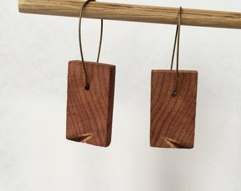 Cedar earrings made from reclaimed wood